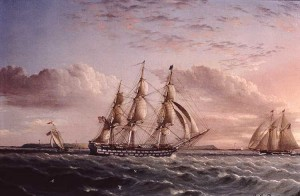American Ship of the Line and Two Schooners