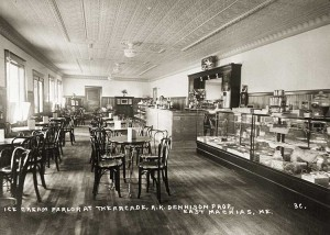Ice Cream Parlor at the Arcade, R.K. Dennison, Prop., East Machias, Me.  3C.