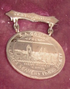 Ladies Seaman's Friend Society Medal awarded to A. A. Gould of Lincolnville, Maine