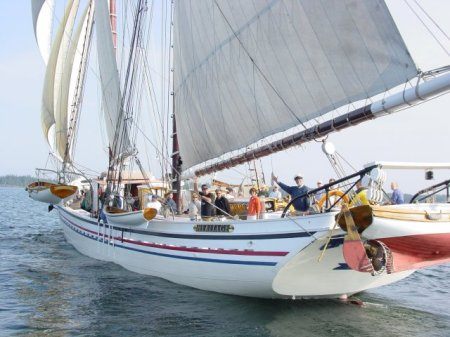 Schooner HERITTAGE Captains Doug and Linda Lee will speak at the March 8th Maine Boatbuilding Forum