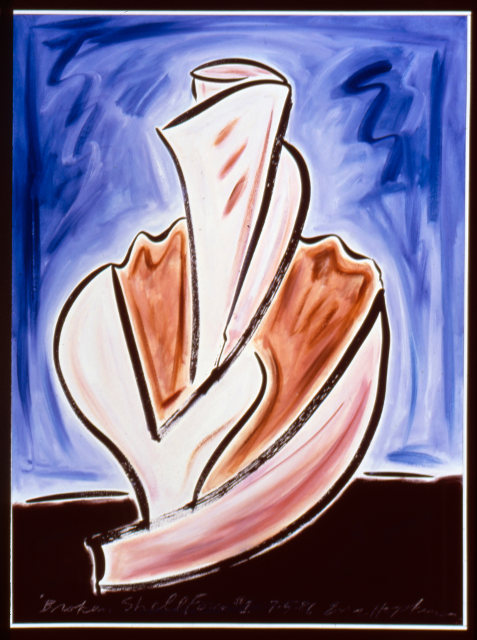 Broken Shell Form #1, 1986, ink and oil o/c, 4' x 3'