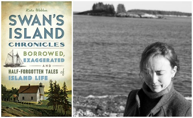 Left: Swans Island Chronicles: Borrowed, Exaggerated and Half-Forgotten Tales of Island Life by Kate Webber. Right: Author Kate Webber