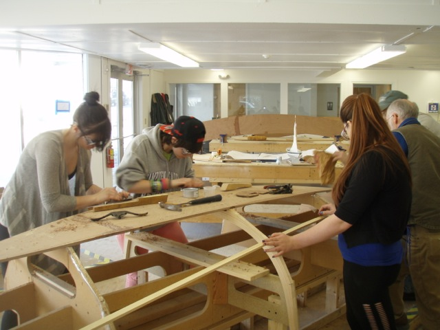 Searsport District High School student learning boatbuilding at Hamilton Learning Center at Penobscot Marine Museum