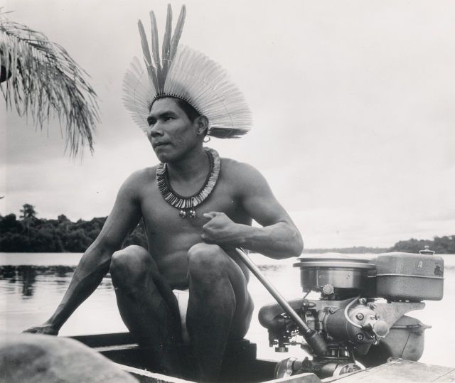Native Fisherman Operating Motorized Boat, PMM National Fisherman Collection