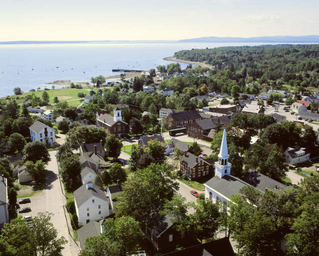 Aerial view of Penobscot Marine Museum's 3 acres and 12 buildings.