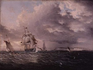 American Yachts and British Ship of the Line off Dover, England