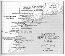 Map of Eastern New England, c. 1640