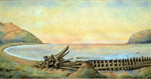 Watercolor of the wreck of the ship RAPPAHANNOCK