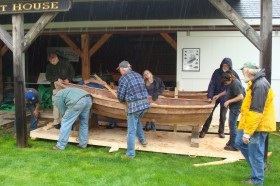 Searsport District High School students build a Shellback dinghy at PMM