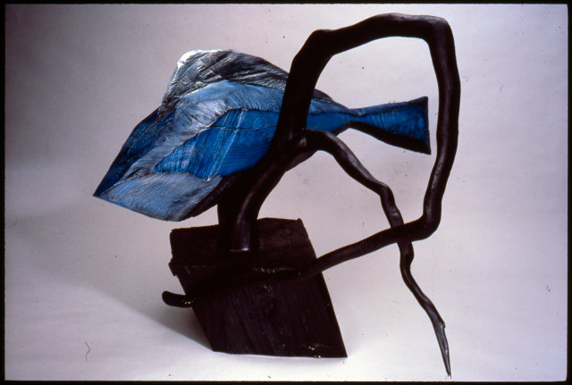 "Blue Fish, 1988, painted wood, 48""x56""x30"""