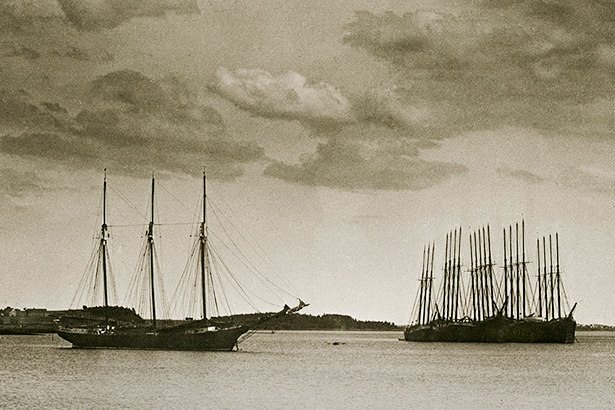 Ships at Anchor, Eastport, Maine, courtesy Penobscot Marine Museum