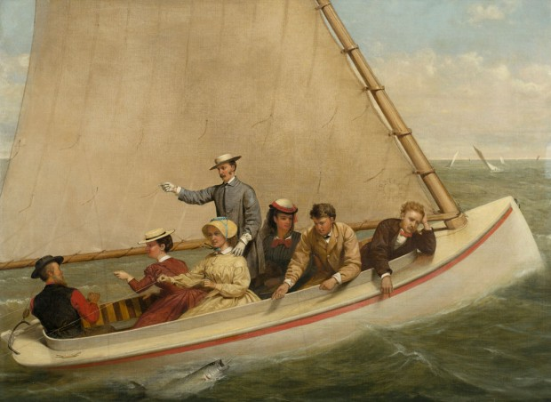 Image: Junius Brutus Stearns (United States, 1810-1885), Fishing in a Catboat in Great South Bay, 1871, oil on canvas, 29 x 39 1/4 inches. New-York Historical Society, Gift of C. Otto von Kienbusch, 1964.21