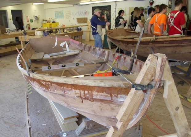 Shellback Dinghy under construction by Searsport District High School students at Penobscot Marine Museum's Hamilton Learning Center