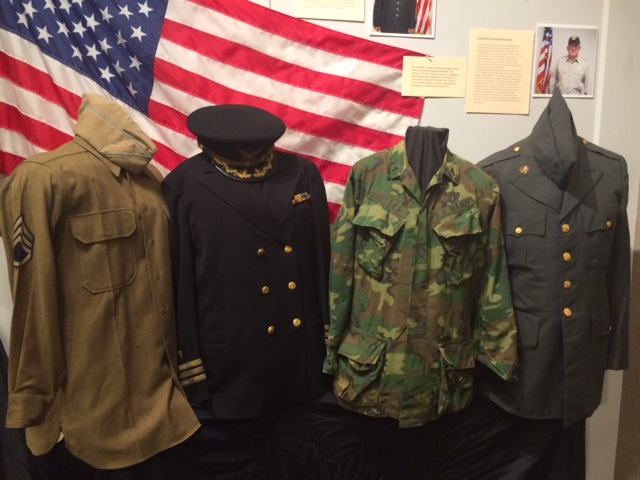 Uniforms from Memoirs of War: A Soldier's Seabag at Penobscot Maine Museum.
