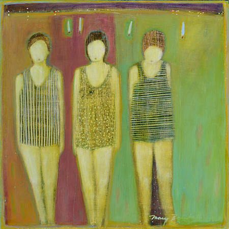 Mary Bourke, Bathers, acrylic on birch panel, 2015, 18 by 18 inches
