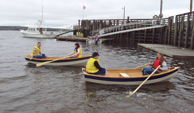 Last year's Searsport District High School students launching their boats in May 2015