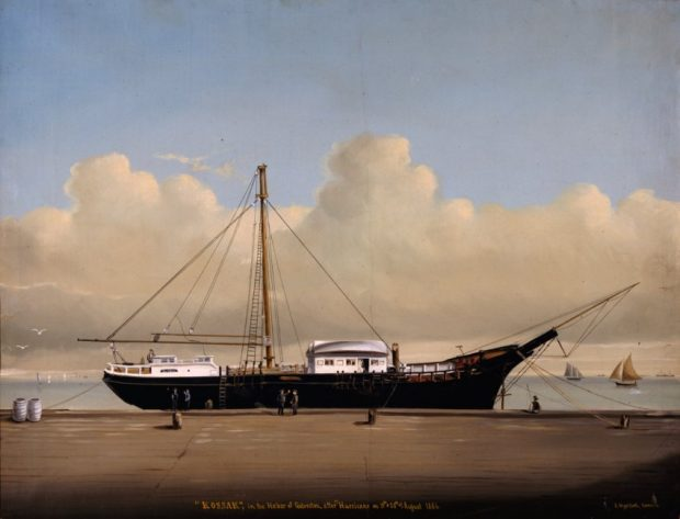 "'KOSSAK', in the Harbor of Galveston after the Hurricane on the 19th and 20th of August in 1886"" by Julius Stockfleth"